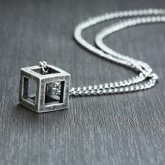 Vnox Retro Hollow Cube Pendant for Men Stainless Steel Square Vintage Necklace Punk Geometric Male Collier with 24