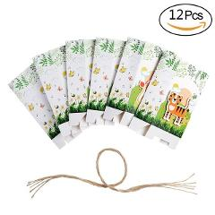 OurWarm 12pcs Party Favor Paper Bags for Birthday Party Kids Supplies Animals Gift Bags Jungle Safari Zoo Animal Favor Boxes
