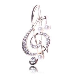 Elegant Music Note brooch for women girl dress Accessories Gold crystal brooch rhinestone pins  5.6cm*3cm