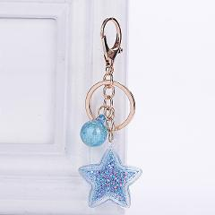 Fashion Sequins Star Heart Keychain For Women Pendant Transparent Quicksand Sequin Key Chain PU Rope Lover Car Keychain Gift