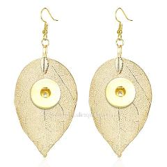 2020 New Natural  Leaves golden silver  18mm  Snap button jewelry  earring  Necklace   NE357