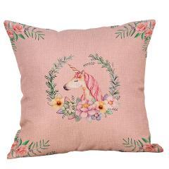 OUR DECOK Unicorn Cotton Linen Throw Pillow Cover Car Home Sofa Decor Decorative Pillowcase Birthday Party