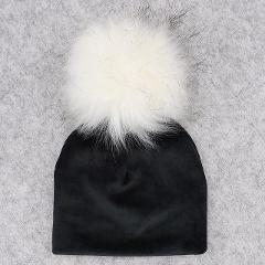 Autumn Winter Thicker Warm Velvet Childs Kids Faux Fur Pompom Beanies Hats 2018 Soft Newborn baby Boys Girls Toddler Cotton Hats