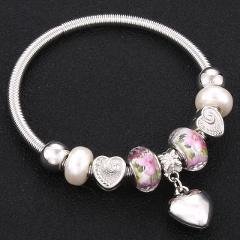 Trendy Elastic metal beading Antique Original Heart Charm Bracelets For Women Glass Beads Brand Bracelet Bangle Jewelry Gift