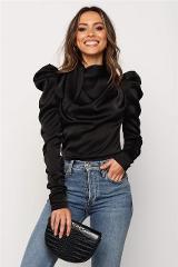 Women Satin Blouses 2019 Fashion High Neck Long Puff Sleeve Black Elegant Blouse Shirt Office Lady Classic Blusas Chemise Femme