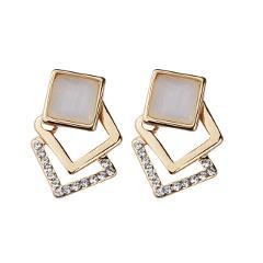 1 Pair Women Girls Square Ear Stud Hollow Stone Ear Jewelry Female Wedding Earrings