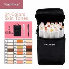 Touchfive 12/24Colors Skin Tones Set Alcohol-based ink Sketch Marker pens for Artist Portrait Illustration Drawing Art Supplies