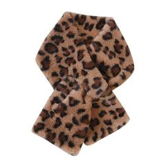 Leopard print mosaic use keep warm Faux Fur Villus short Scarves Women Fashion Winter wraps Outerwear Scarf Warm echarpe #ZC