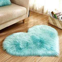 Carpet Love Heart Rugs Artificial Wool Sheepskin Hairy Mat Faux Fluffy Mats NO Lint Carpet for Living Room Kid Room Area Rug