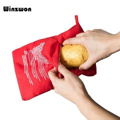 1Pcs Red Washable Cooker Bag Microwave Baking Potatoes Bag Rice Pocket Cooking Tools Easy To Cook Kitchen Gadgets Baking Tool
