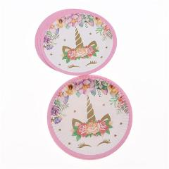 Unicorn Theme Pink  Party Supplies Napkins Plates Cups Baby Shower Festival Party Tableware Set for Girls Home Accessories
