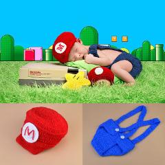 Mario and Louis Baby Boys Photography Props Crochet Mario Bros photo prop Newborn Photo Outfits Cartoon Costume Newborn Outfit