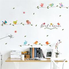 colorful birds branch 30*90cm wall stickers for kids rooms home decor cartoon animals wall decals pvc mural art diy posters