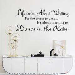 2019 Alphabet Phrase Wall Stickers Life Isn't About Waiting Wall Stickers Quote Dancing in rain 3D Wall Decal Words Home Decor