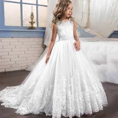 2019 Girl Children Wedding Dress white First Communion Formal long Lace Princess Prom Dress Party for Girl 3-14 Year Costume
