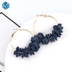 New Fashion Fabric Flower Drop Earrings Bohemian Earrings Colorful Petal Big Circle Alloy Earring Jewelry Boucle D'Oreille