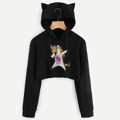 FRIENDS Letter Kawaii Unicorn Print Kpop Hoodies Sweatshirts Women Harajuku Long Sleeve Crop Top Hoodie Casual Female Sweatshirt