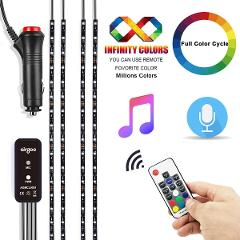 Car Interior Led Lights, Waterproof 4pcs 20inch Long Strips, Rainbow Flow Car LED Strip Light, Full Color Cycle, Remote Control 30+ Unique Dynamic Mode, Music Under Dash Car Lighting with Car Charger