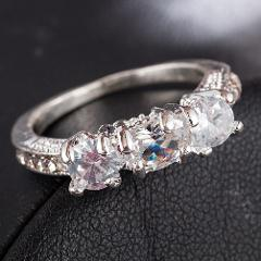 Wedding 3 Crystal Plated White Gold Filled Ring Gift Jewellry For Women Size 6 7 8 9