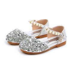 Children Kids Shoes Girls Casual Fashion Sandals Pearl Bling Sequins Single Shoe Solid Single Dance Hook&Loop Princess Shoes