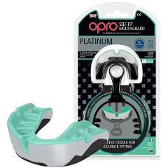 OPRO Adult Platinum Self-Fit Gen3 Antimicrobial Mouthguard strap black mint pear