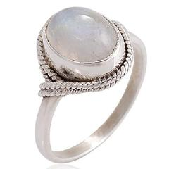 European Fashion Retro Women Engagement Ring Pink Moonstone Vintage Round Wedding Party Ring Jewelry Gift
