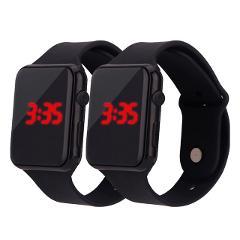 2PC Man Woman LED Electronic Sport Watch Luminous Sensor Student Adult Couple Electronic Watch With Shell Adjustment Watch L58