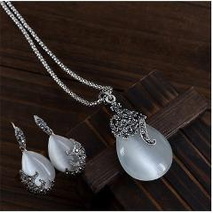 Vintage Water Drop Pendant Necklaces Earrings Set  Silver Wedding Engagement Jewelry Sets for Women