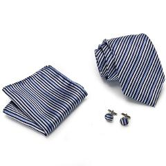 8cm Men Tie Solid Blue striped Neck Ties Set  Pocket Square Cufflinks   for Wedding Party Formal Suit Cravata
