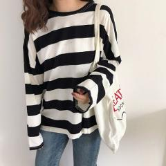 Harajuku Striped T-Shirt Women Shirt Korean Loose Long Sleeve For Plus Size Streetwear Female Spring New Casual Fashion Tees Top