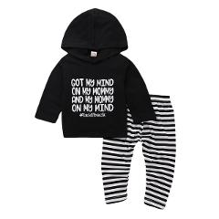 Hot 0-24M Toddler Newborn Baby Boy Girl Outfits Clothes Hoodie Tops+ Striped Pants Legging Set 2pcs