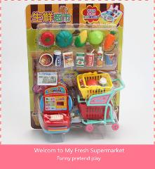 Pretend Play Action Figure Toys Fresh Supermarket Vegetable Drink Food Model Shopping Cart with Groceries Toys Children gift