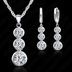 New Fashion 925 Sterling Silver Super Clear Crystal Cubic Zirconia Gourd Design Necklace Pendant Earrings Sets For Women