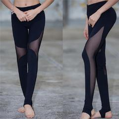 Women Yoga Pants Running Mesh Patchwork Sport Gym Workout Fitness Tight TB