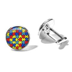 SONGDA High Quality Colorful Puzzle Pieces Cufflinks Autism Awareness Jigsaw Sign Clear Glass Cabochon Cuff Links Button Gemelos