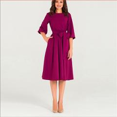 Lacing Lantern Sleeve O-Neck Dress Women Soild Knee-Length Spring Casual O-Neck Elasticity Elegant Party Dresses Vestidos New