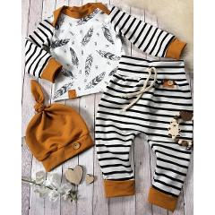 3PCS Newborn Baby Girl Boy Clothes Long Sleeve Fashion Print T-shirt+Striped Pants+Hat Baby Girl Boy Set Infant Clothing
