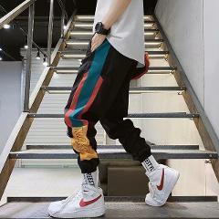 Hip Hop Streetwear Men's Splice Joggers Pants Fashion Men Casual Cargo Pant Trousers High Street Elastic Waist Harem Pant Men