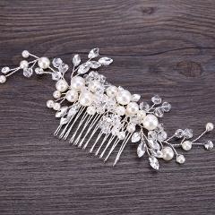 Handmade Silver Pearl Flower Hair Comb Bride Tiaras Crowns Headpiece Wedding Bridal Noiva Hair Jewelry Accessories For Women