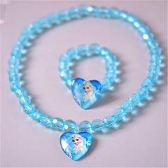 2pcs/lot 2018 children's doll accessories cartoon new jewelry frozen necklace Aisha Queen Anna bracelet set