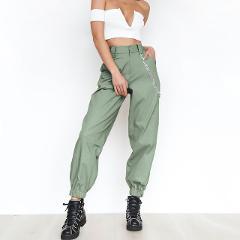 Fashion Harem Pants Women Loose Full Length Chains Pockets Women Trousers Bottoms Khaki Black White Spring Autumn B80992