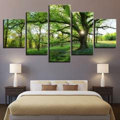Pictures Home Decoration HD Printed Paintings Modular Posters Modern 5 Panel Green Tree Landscape Tableau Wall Art Canvas