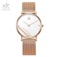 Shengke Rosegold Luxury Mesh Women Watches Crystal Dial Reloj Mujer Elegant Quartz Ladies Wristwatches Creative Montre Femme