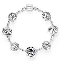 ATTRACTTO Silver Star&Hamsa Hand Bracelets&Bangles For Women Snaps Jewelry Crystal Bracelet Charms Friendship Bracelet SBR190319