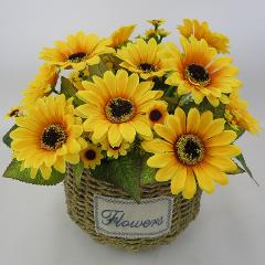 7 Heads Silk Sunflower Artificial Flower Bouquet For Wedding Box Decoration Headmade Scrapbooking Accessories Fake Flowers