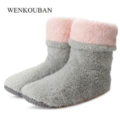 Home Slippers Women Winter Sock Slippers Ladies Warm Fur Slides Female Soft Slippers For Women House Shoes Pantoufle Femme