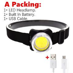 Mini Portable Headlight COB LED Headlamp  internal battery  Head lamp light