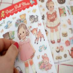 6 Sheets/lot Stickers Doll Story Cute Girl Transparent PVC Hand Account Album Decoration Mobile Phone Room Wall DIY Sticker