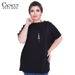 CACNCUT Plus Size Autumn Casual Loose top women chiffon Elegant Office Ladies Tops 2019 hollow out Big Size Women clothing 6XL