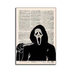 Old Newspaper Style Wall Art Canvas Painting Scream Horror Movies Posters Picture Prints For Halloween Pumpkin Home Wall Decor